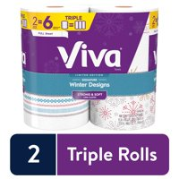 Viva Signature Cloth Winter Designs, Full Sheets, Soft & Strong Kitchen Paper Towels, 2 Triple Rolls = 6 Regular Rolls (108 Full Sheets per Roll)