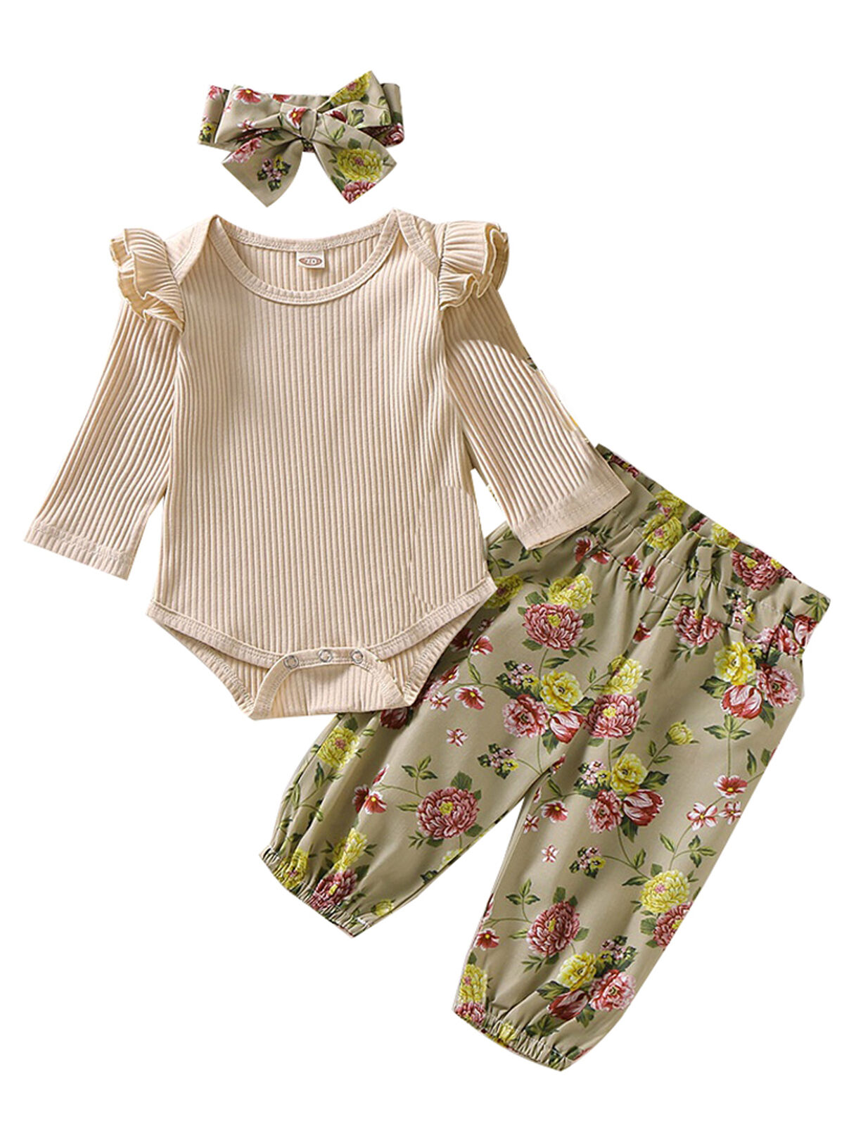 Newborn Baby Girl Romper Tops Jumpsuit Floral Pants Headband Outfit Clothes Set