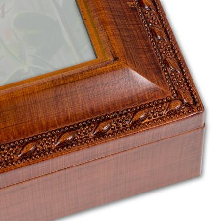 Retirement Cottage Garden Woodgrain Traditional Music Box Plays Wonderful World