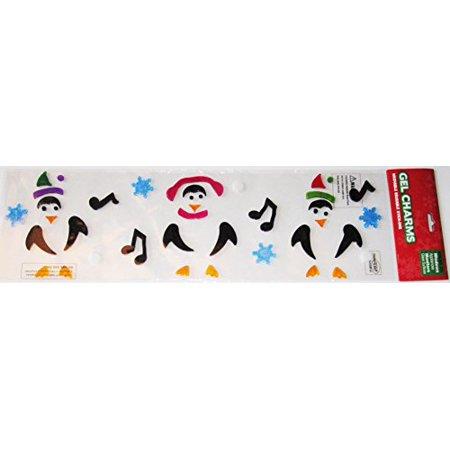 Penguins Snowflakes Gel Window Clings