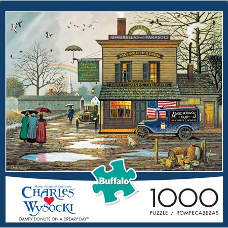 Donut On A String Game (Buffalo Games Charles Wysocki Dampy Donuts on a Dreary Day1000 Piece Jigsaw)