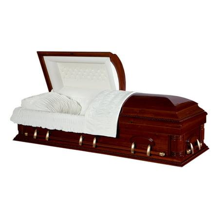 Overnight Caskets, Funeral Casket, Cherrytone Poplar Cream Interior - Prop Casket