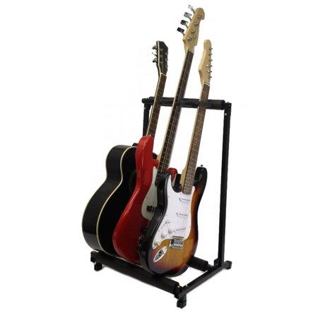 Zenison 3 Guitar Stand Multiple Three Instrument Display Rack Folding Padded Organizer - Folding Multiple Guitar Stand