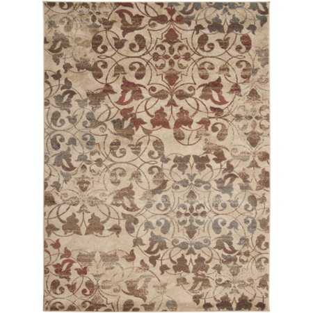 4' x 5.5' Rustic Leaves Tan, Red and Brown Shed-Free Area Throw Rug