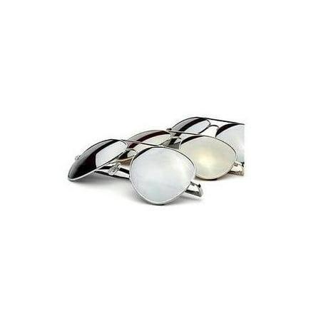 New Aviator Sunglasses Designer Mens Fashion Silver Frame Shades Mirror Lens Met Silver Frame Platinum Mirror Lens