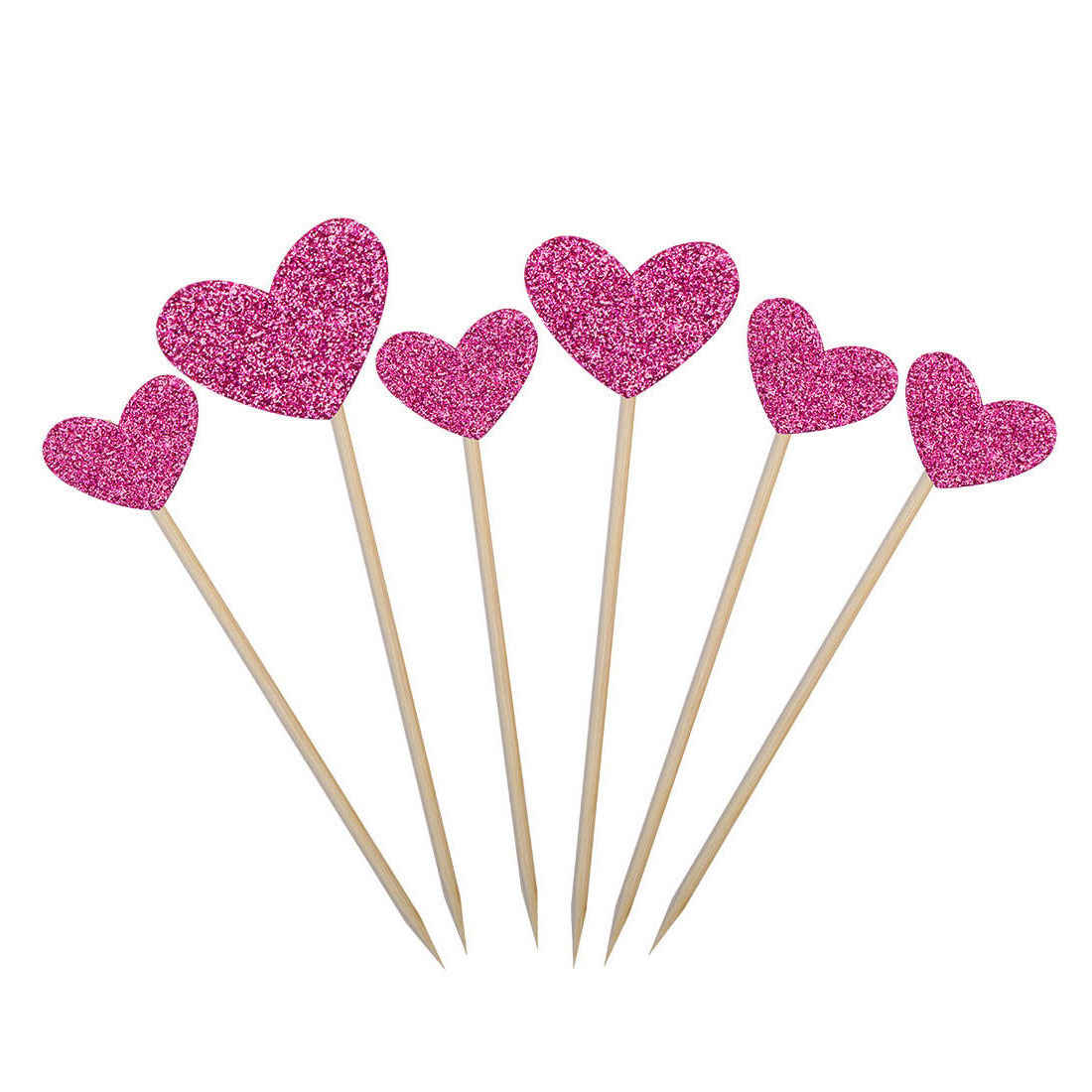 Party Cupcake Heart Shaped Glittery Toothpicks Craft Picks Topper Fuchsia 6 in 1