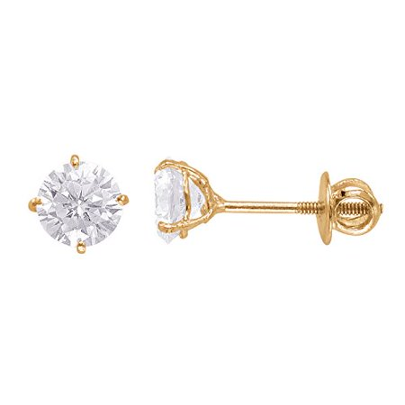 - 14kt Yellow Gold Plated Round Crystal Screw back Studs