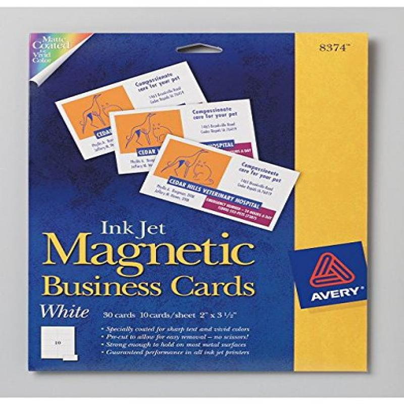 Avery Ink Jet Magnetic Business Cards 10 Precut Cards