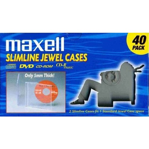 Maxell Clear Slim Jewel Cases, 40-Pack