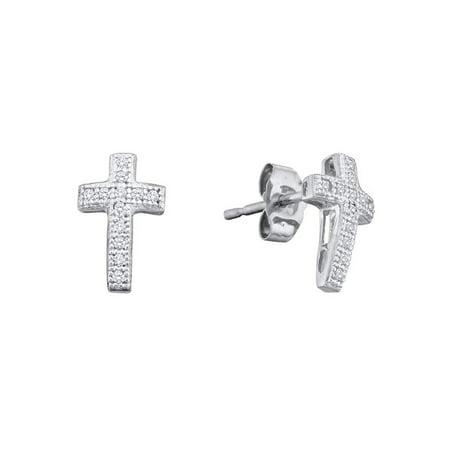 10kt White Gold Womens Round Cross Cluster Diamond Earrings 1/10 Cttw