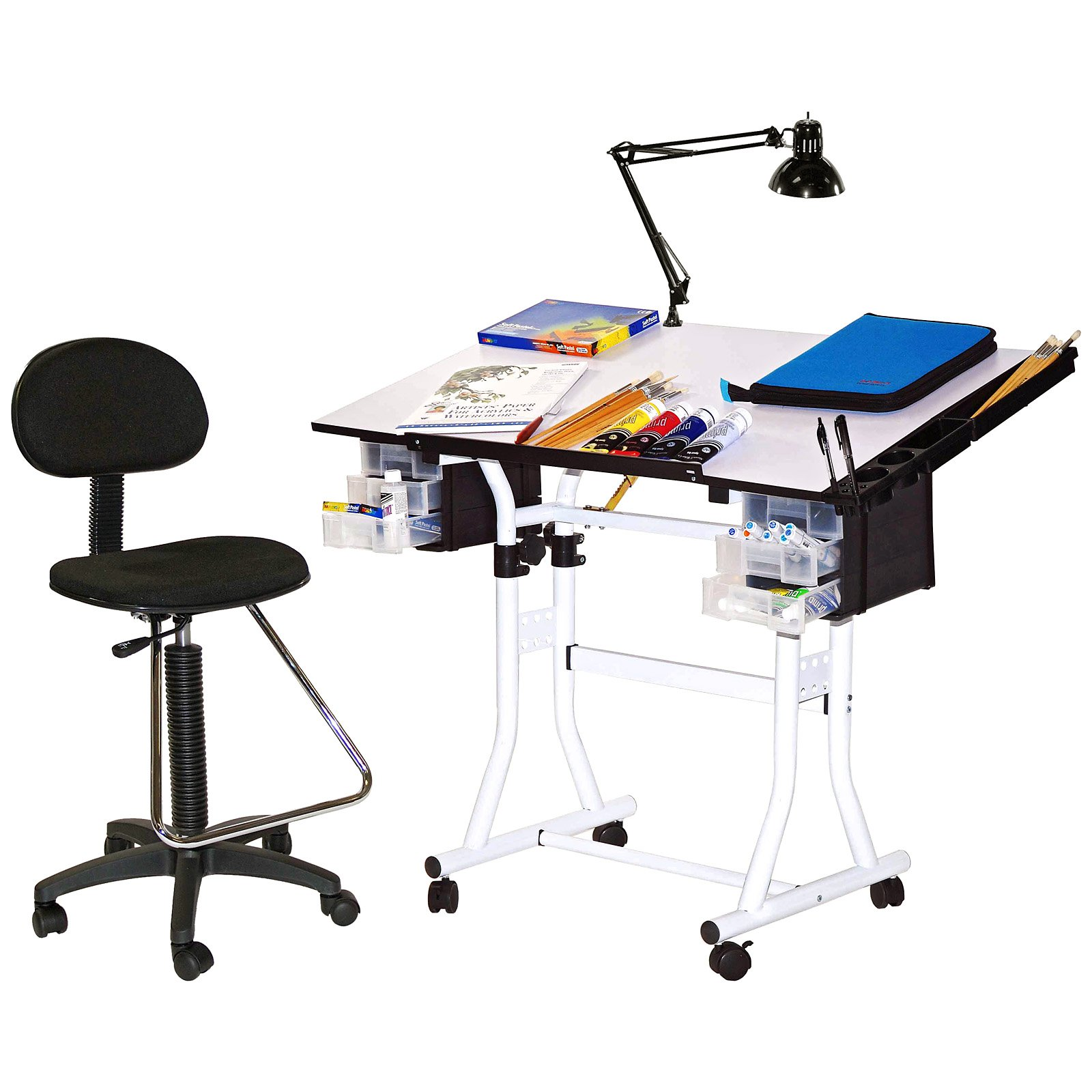 Adjustable Drawing And Drafting Table With Black Frame And Dual Wheel  Casters   Walmart.com