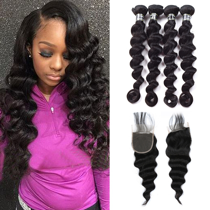 """Amazing Star Brazilian Virgin Hair Loose Wave 4 Bundles with Closure Free Part Human Hair Weave, 14""""16""""18""""20"""" with 14"""""""