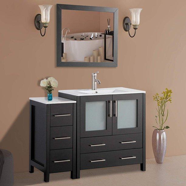 Vanity Art 42 Single Sink Bathroom Vanity Set Modern Bathroom Storage Solid Wood Ceramic Top Under Sink Cabinet With Mirror Walmart Com Walmart Com