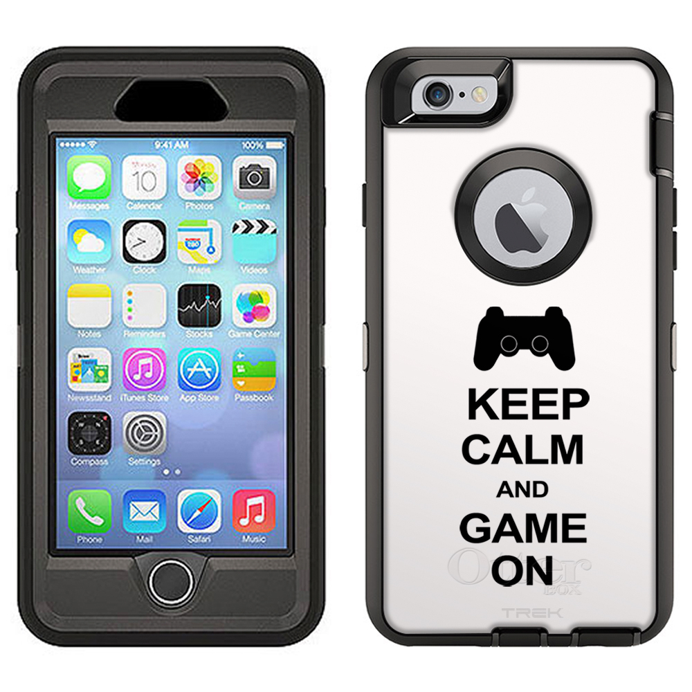 SKIN DECAL FOR Otterbox Defender Apple iPhone 6 Plus Case - KEEP CALM and Game On on White DECAL, NOT A CASE