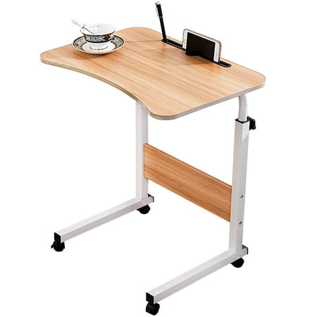 - DL furniture - Adjustable Desk Body Curve Edge Design With Phone Slot Laptop Desk Movable Table Lapdesk With 4 Wheels Flexible Wooden Stand Desk Cart Tray Side Table for Bed - Natural Wood Tone