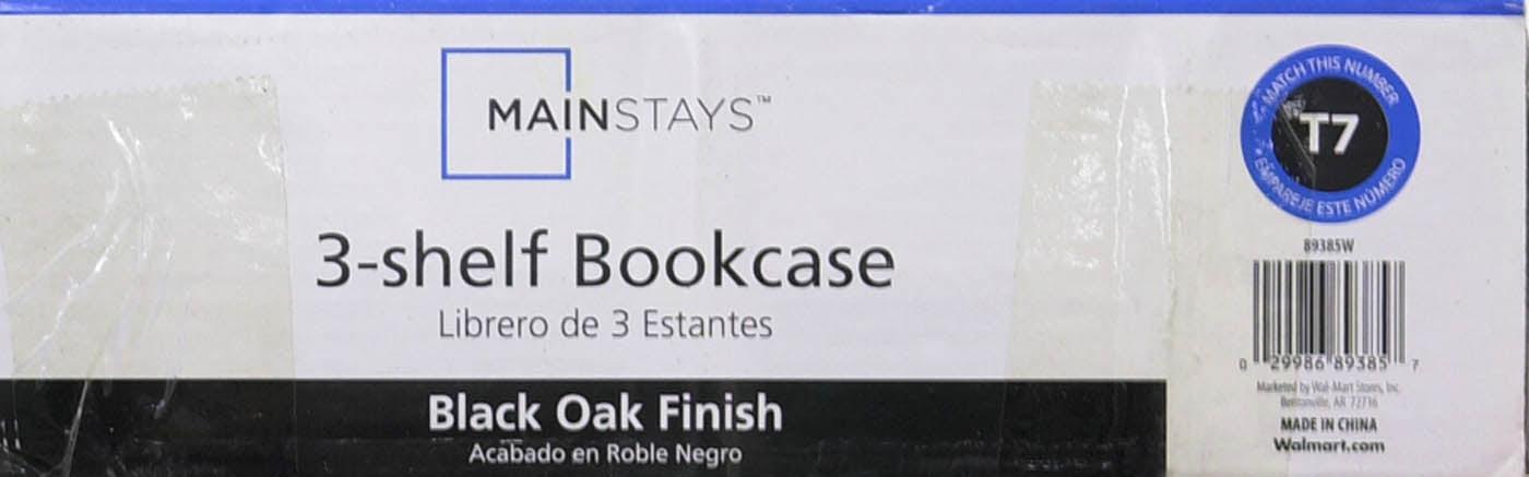 Mainstays 3-Shelf Bookcase, Black - Walmart.com