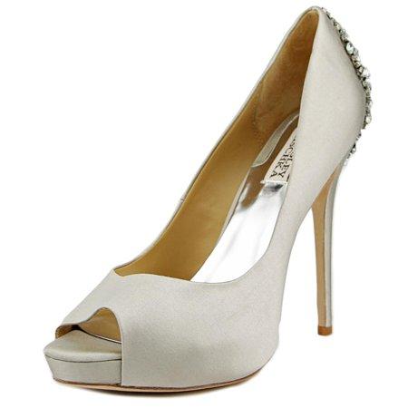 Badgley Mischka Kiara Women Open Toe Canvas Silver Platform Heel