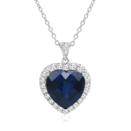 Heart of The Ocean Created 12ct TW  Blue and White Sapphire (Titanic Heart Of The Ocean Necklace For Sale)
