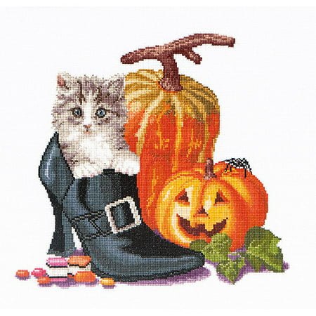 Thea Gouverneur Counted Cross-Stitch Kit, Halloween Kitten