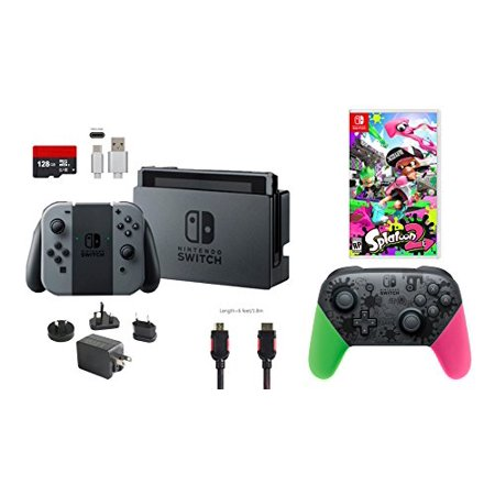 Nintendo Switch Bundle  7 Items   32Gb Console Gray Joy Con  Nintendo Switch Pro Controller Splatoon 2 Edition  Game Disc Splatoon 2  128Gb Micro Sd Card  Type C Cable  Hdmi Cable Wall Charger