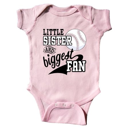 Little Sister and Biggest Fan- baseball family fan Infant Creeper Infant Baseball Clothes