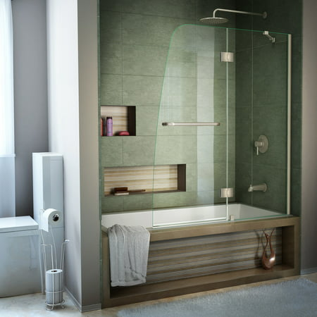 Tub Door Obscure Glass - DreamLine Aqua 48 in. W x 58 in. H Frameless Hinged Tub Door in Brushed Nickel