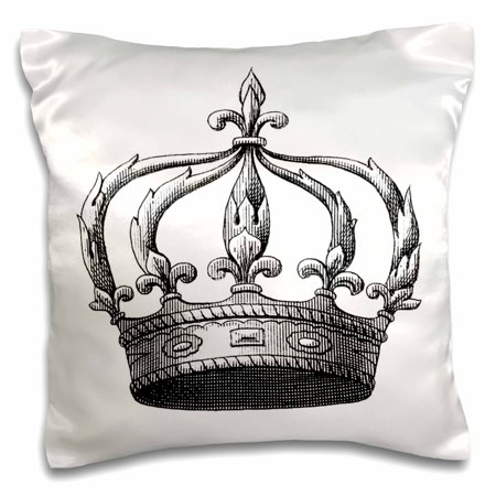 - 3dRose Vintage Crown - Royalty - Black and White Art, Pillow Case, 16 by 16-inch