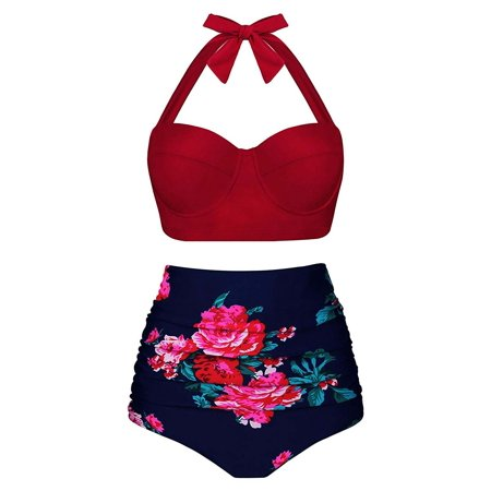 Nylon Vintage Suit - Women Crimson Flower Print Vintage High Waisted Bikini Set Two Piece Swimsuits High Waisted Bathing Suits with Underwired Top