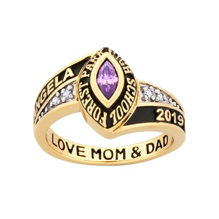 Personalized Women's 14kt gold plated Celebrium Marquise Birthstone and CZ Class Ring