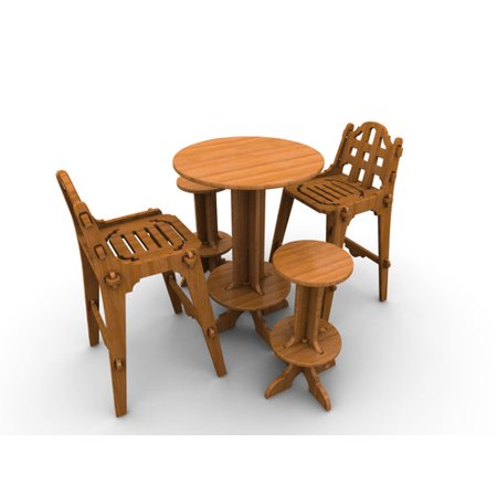 Wedgewood Furniture Palladian Line Piece Teak Bar Height Dining - Teak bar height table and chairs