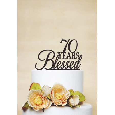 RENEWFOX 70 Years Blessed Cake Topper70th Birthday TopperAnniversary Topper