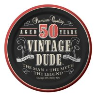 "Party Creations Vintage Dude 50th Birthday Lunch Plate, 7"", 8 Ct"