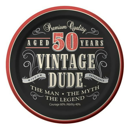 Party Creations Vintage Dude 50th Birthday Lunch Plate, 7