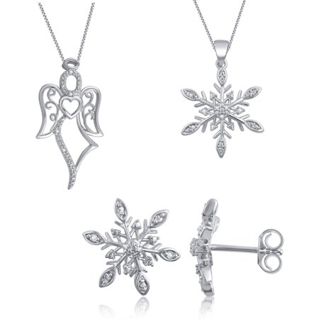 Angel Set Jewelry Set (Rhodium Plated Brass Diamond Accent 3 Piece Fashion Jewelry Set with Snowflake Earrings, Snowflake Pendant and Angel Pendant)