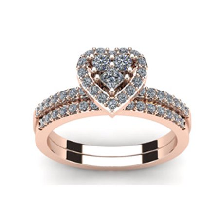 1/2 Carat Heart Halo Diamond Bridal Set in Rose Gold Size 8
