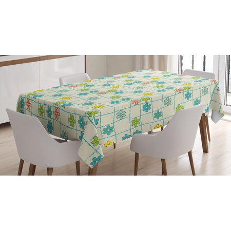 Geometric Tablecloth, Floral Arrangement inside Checkered Background Colorful Foliage Pattern Abstract, Rectangular Table Cover for Dining Room Kitchen, 60 X 84 Inches, Multicolor, by - Checkered Table Covers