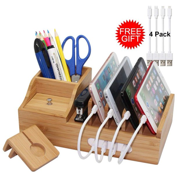 Bamboo Charging Station Organizer For Multiple Devices Iphone Ipad Apple Watch Office Desktop Wood Docking Stations,Cute Diy Halloween Decorations For Kids