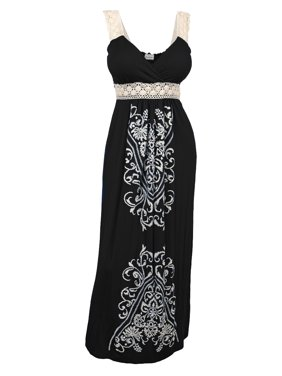 2f51ee5911fbf2 Product Image Plus Size Embroidery Print Empire Waist Maxi Dress Black