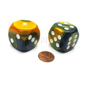 Chessex Gemini 30mm Large D6 Dice, 2 Pieces - Masquerade with White Pips #DG3060