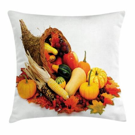 Harvest Throw Pillow Cushion Cover, Thanksgiving Photograph with Butternut Squash Pumpkin Corn Cornucopia, Decorative Square Accent Pillow Case, 24 X 24 Inches, Vermilion Orange Brown, by Ambesonne