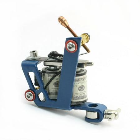 Blue Spray Frame Cast Iron Linear Tattoo Machine 10 Wraps Double Coil