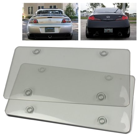 - 2PC ModifyStreet® Crystal Clear Smoked Tinted License Plates Covers Shields Protectors