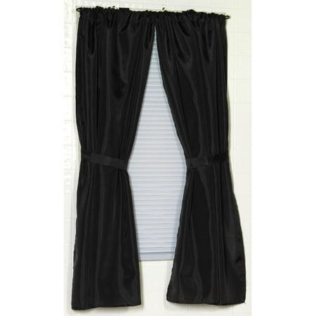 Polyester Fabric Window Curtain in Black