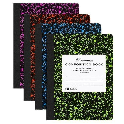 BAZIC W/R 100 Ct Premium Assorted Color Marble Composition Book, Case Pack of 48