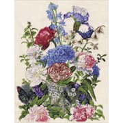 """Bouquet with Cat Counted Cross Stitch Kit, 14"""" x 19"""", 14-Count"""