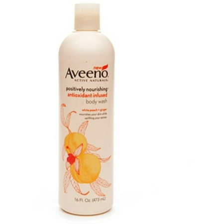 2 Pack - AVEENO Active Naturals Positively Nourishing Antioxidant Infused Body Wash White Peach + Ginger 16 oz