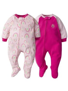 Gerber Baby Girl Microfleece Blanket Sleepers Pajamas, 2-Pack