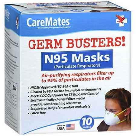 CareMates N95 Respirator Mask, 10 Count -  n-95