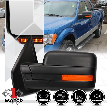 - [Left]Driver Side Power+Heated LED Signal Replacement Mirror for 04-14 Ford F150 05 06 07 08 09 10 11 12 13