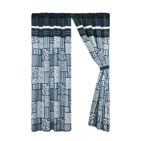 4-Pc Payton Floral Vintage Patchwork Tile Pleated Stripe Curtain Set Navy Blue White Gray Valance Drape Sheer Liner